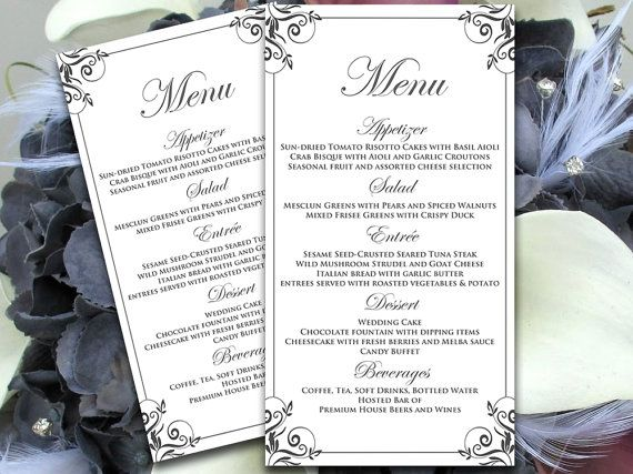 Diy Menu Card Microsoft Word Template Charcoal Gray Charlan Flourish Menu Table Card Editable Text Wedding Menu Template Menu Template Menu Card Template