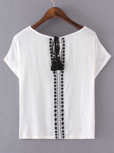 White Embroidery Key-hole Tassel Back Blouse #whiteembroidery