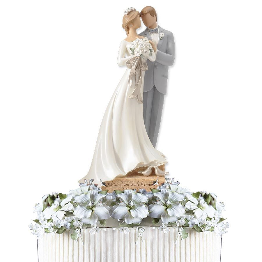 Kim Lawrence Remind Brides And Grooms That The Two Shall Become One With Elegantly Designed Legacy Of Love Wedding Cake Topper Figurine