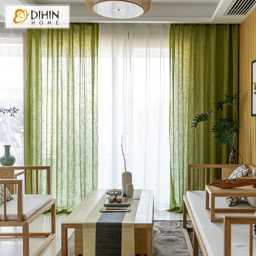 Dihin Home Modern Green Day Curtain Sheer Curtain Grommet Window