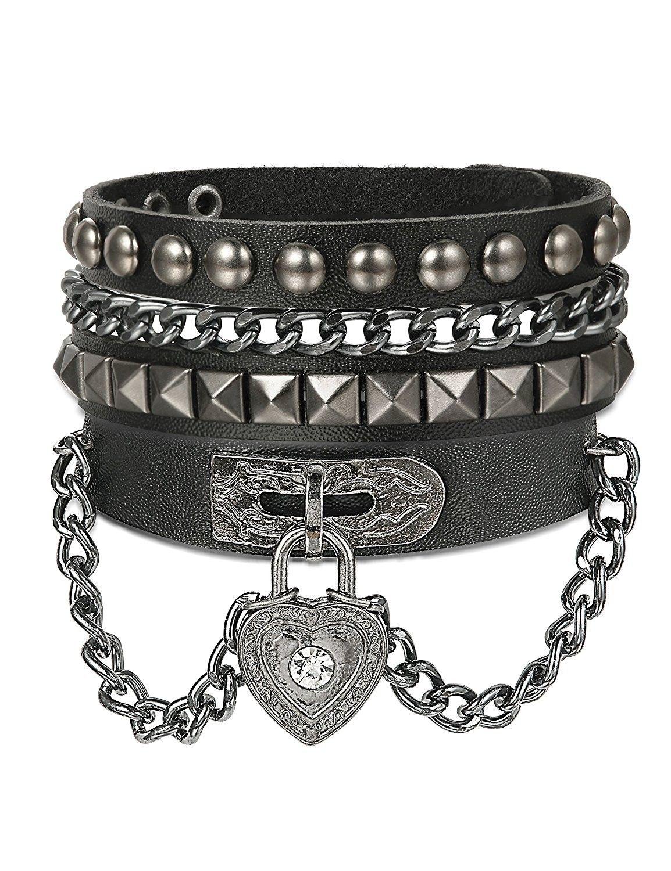 2pcs Women Punk Goth Emo PU Leather Lace O-Ring Collar Choker Funky Necklace