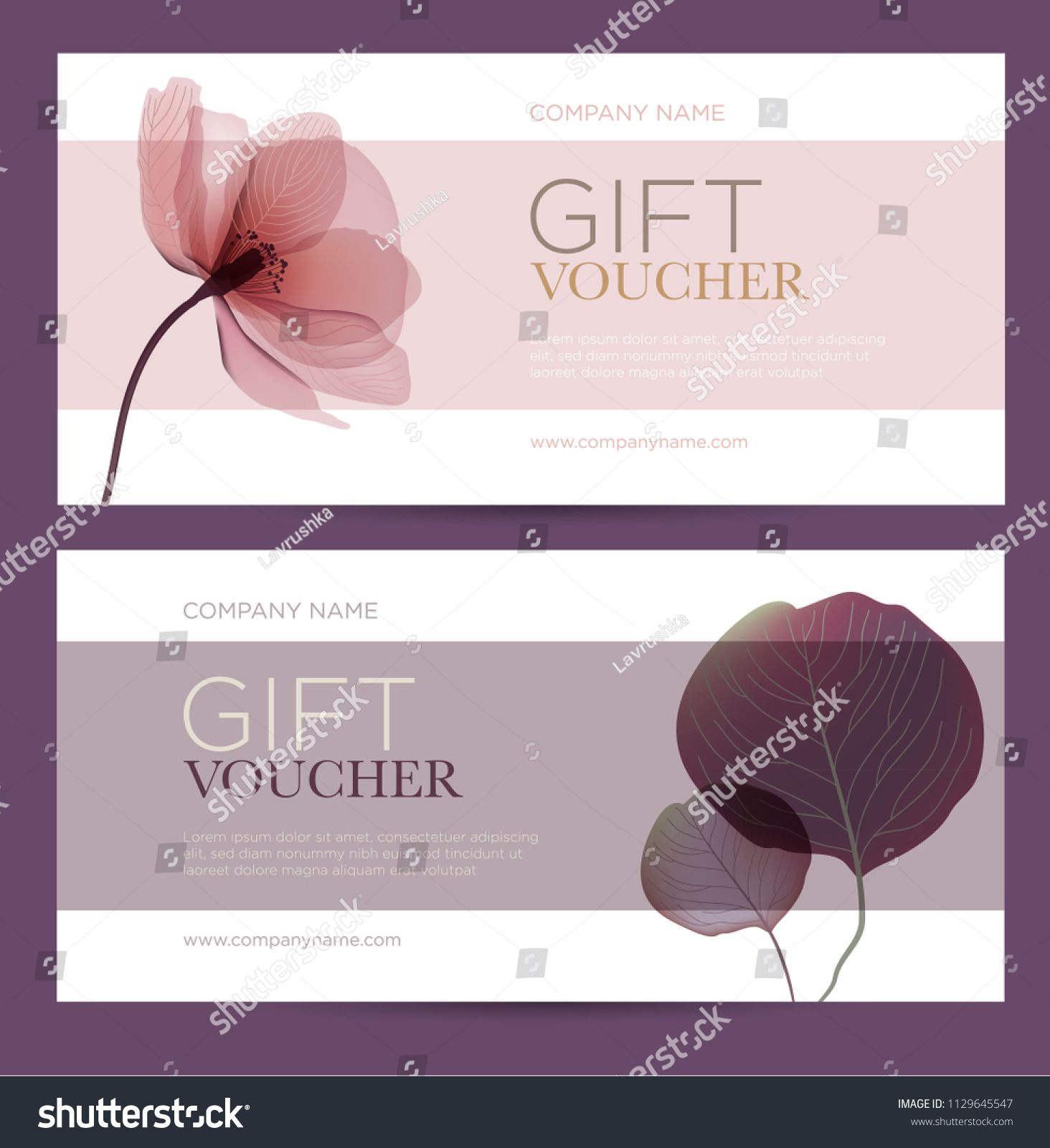 Gift Card With Floral Decoration Invitation Card Coupon Template