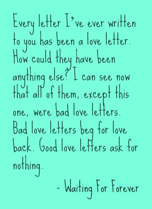 good love letters ask for nothing waiting for forever