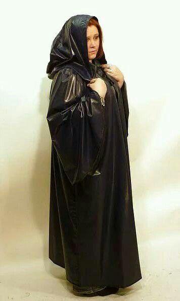 Black PVC Hooded Cape