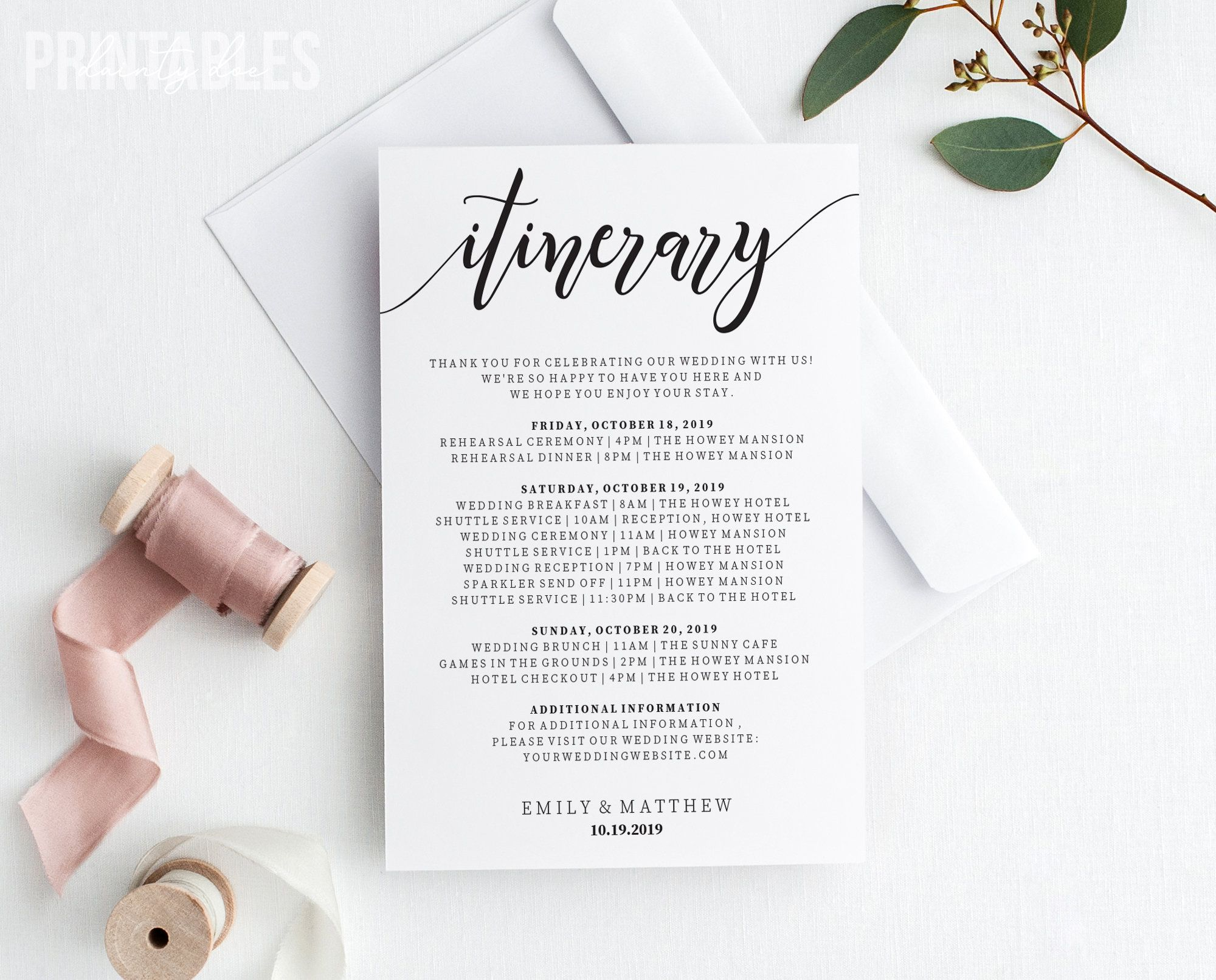 Editable Wedding Itinerary Welcome Bag Timeline Template Etsy Wedding Details Card Wedding Details Wedding Itinerary