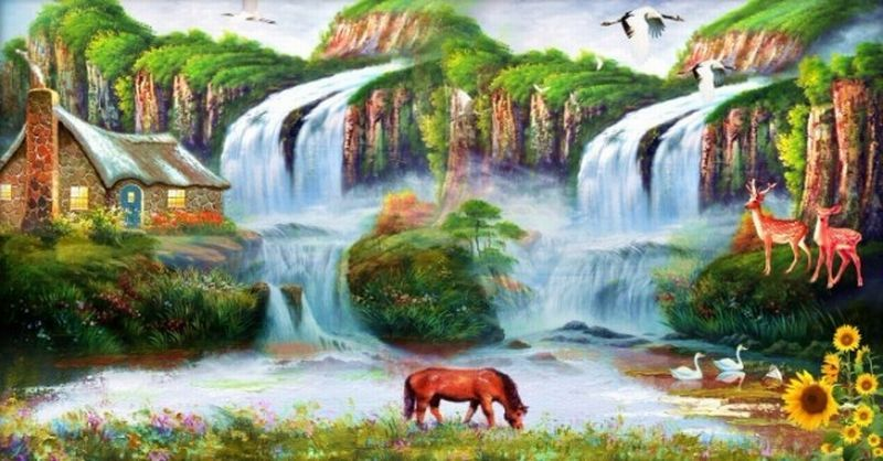 Most Beautiful Waterfalls Painting In Oils Photography Scenery Wallpaper Beautiful Images Nature Waterfall Paintings