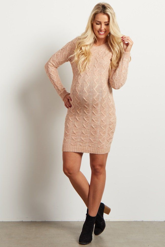 1c183bb32ea Pale Pink Cable Knit Maternity Sweater Dress