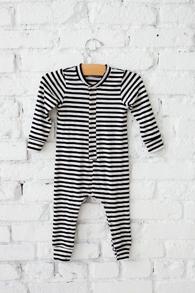 4af8202d36e2 Long Sleeve Romper in Classic Black + White Stripe