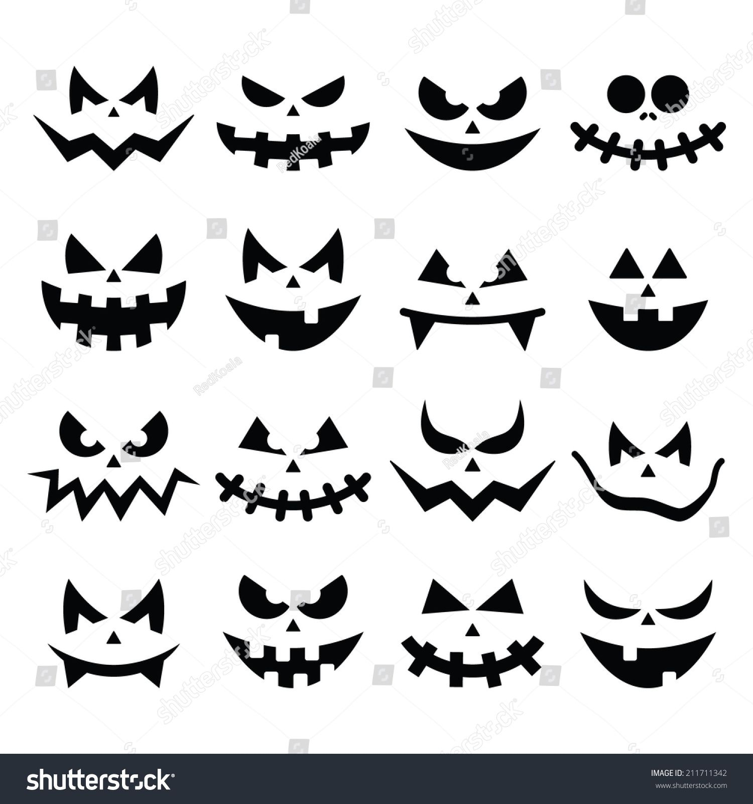Scary Halloween pumpkin faces icons set #halloweendekobasteln