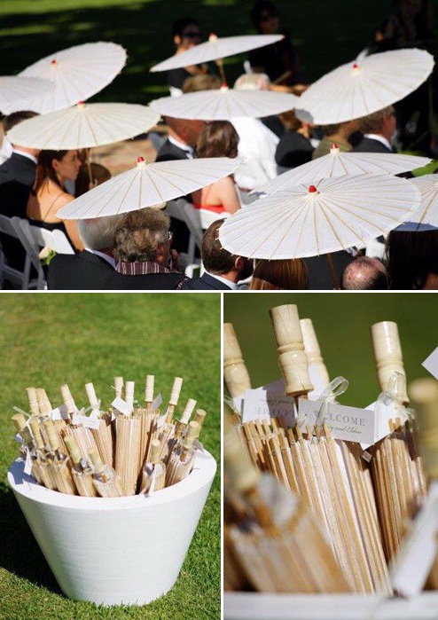 wedding parasols for guests, maybe mix matched umbrellas for the texas heat?