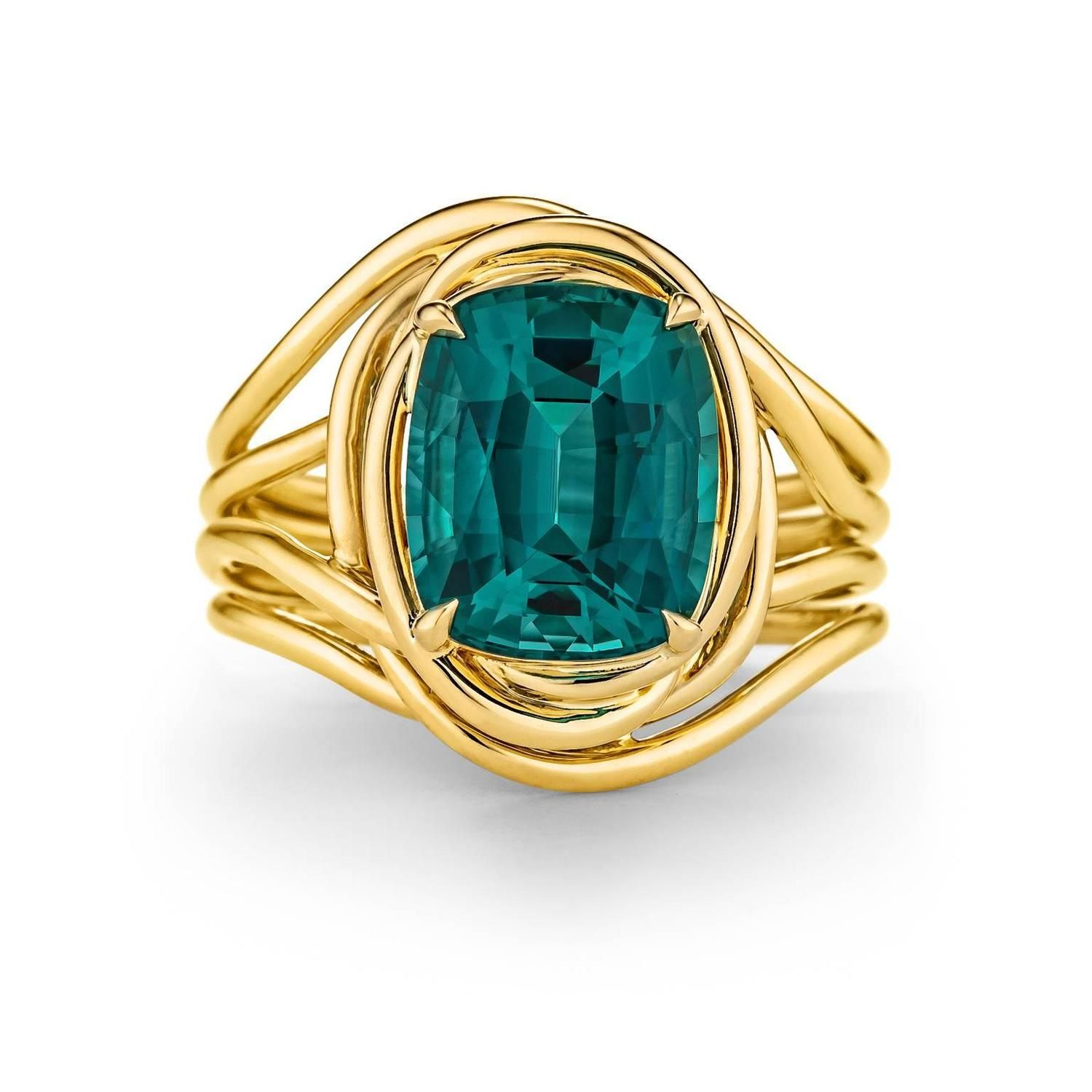 Tiffany and Co Schlumberger Indicolite Tourmaline Gold Ring