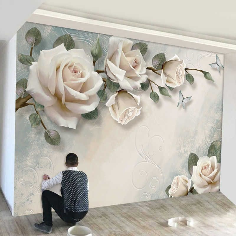 Magnolia Flower Wallpapers Wall Mural Art Wall Painting Wallpaper Murals Large Hand Painting Contact Paper Nordic Embossed Floral Wall Decor