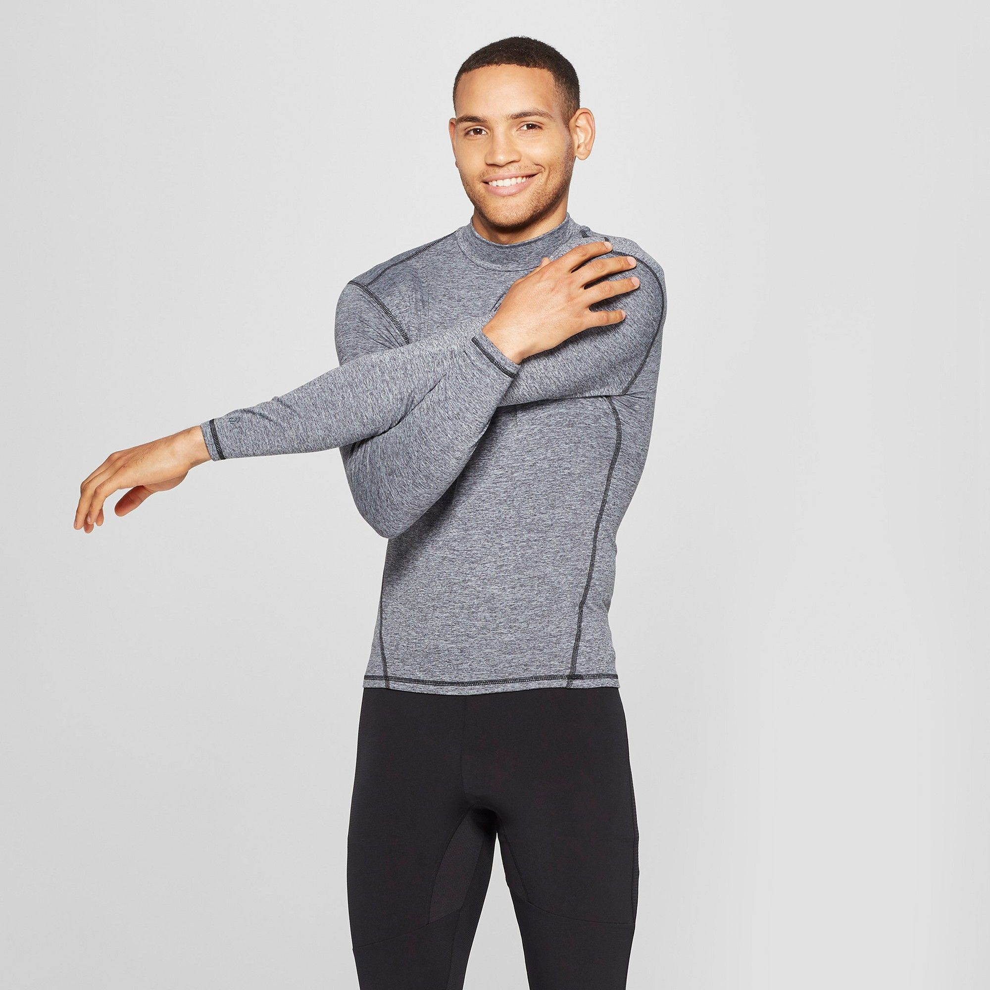 9c367db70 Men's Mock Neck Long Sleeve Compression Top - C9 Champion Silver Filagree  Heather Xxl