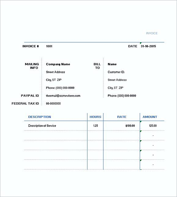 Excel Hourly Invoice Template Hourly Invoice Template General