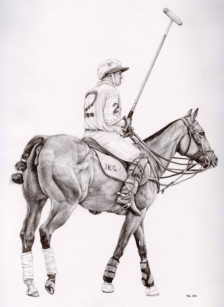A pencil sketch of a polo player