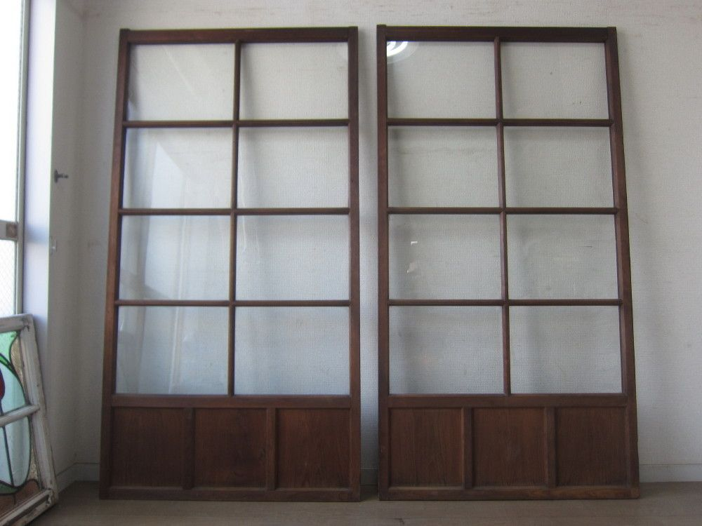 大正 昭和初期 古い木枠 ゆらゆらガラス戸 2枚 建具 引き戸 ドア