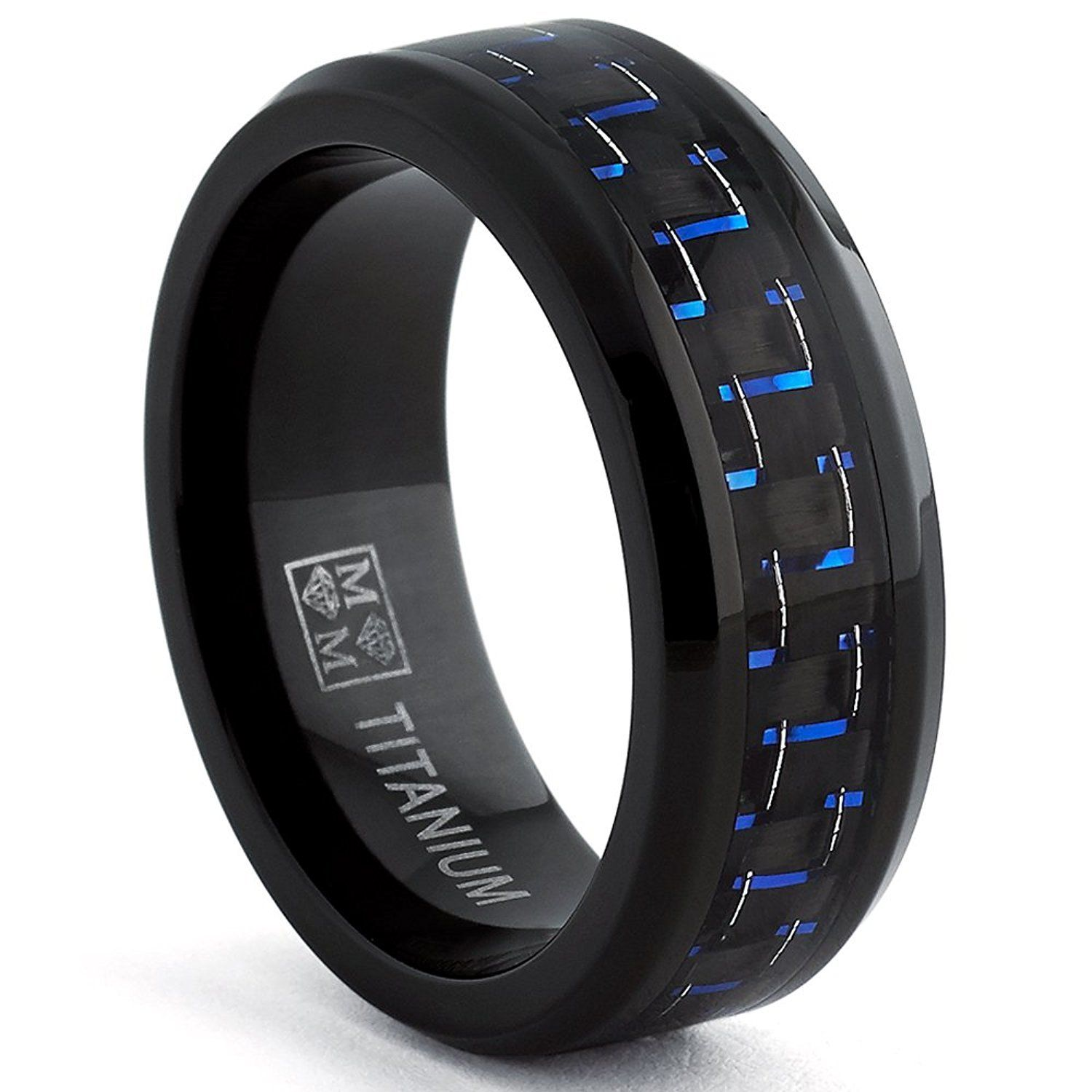 Black Titanium Wedding Band Ring with Black and Blue