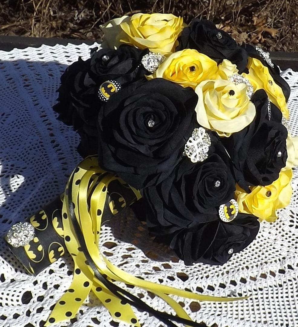 5e8d6f067d289 Batman Bridal Brooch Bouquet. Beautiful black and yellow roses ...