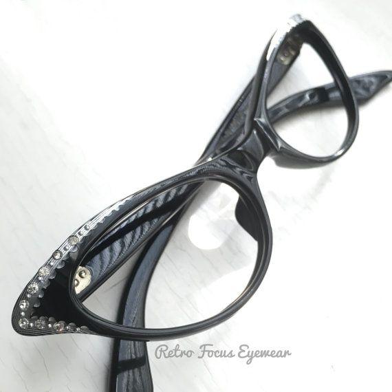 50\'s Pinup Cat Eye Eyeglass Frames Black by BackThennishVintage ...