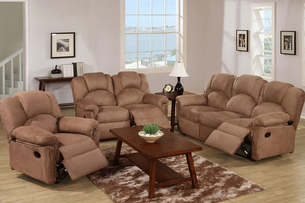 Awesome Furniture 3 Pc Motion Loveseat, Sofa,Recliner Chocolate Microfiber Living  Room Home Design Ideas