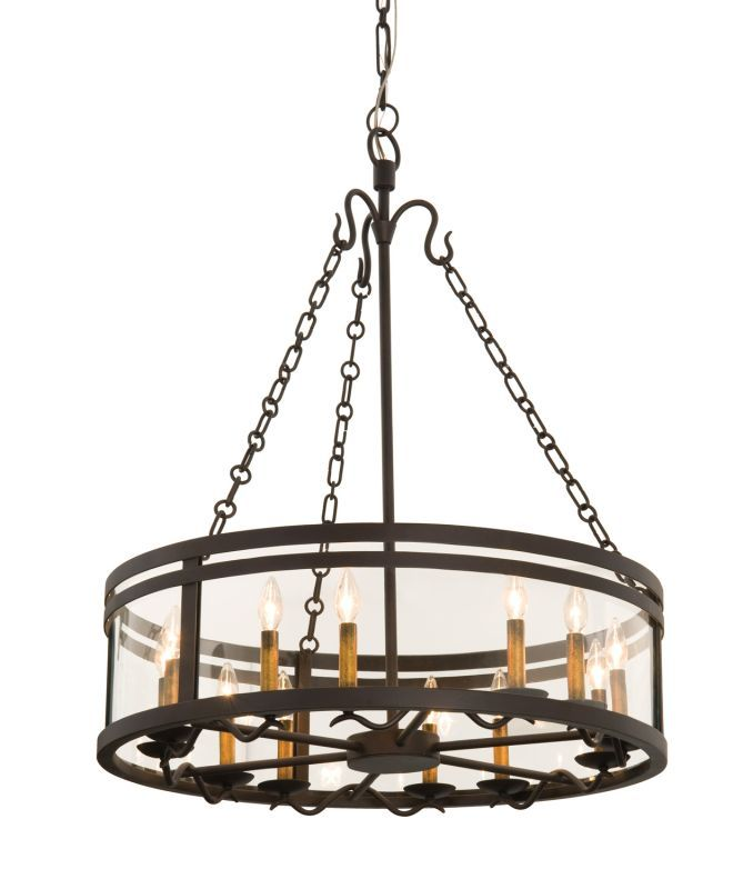Kalco 5797BZ Morris 12 Light 1 Tier Drum Chandelier Bronze Indoor Lighting Chandeliers