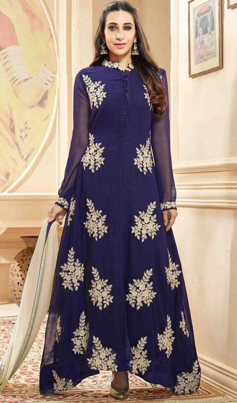 d10c4a3cfd9 Dazzle the crowd with your marvelous looks just like Karisma Kapoor dressed  in this blue color georgette embroidered Anarkali suit.