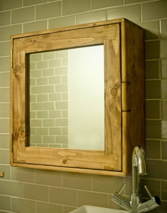 bathroom cabinet, wood natural & eco friendly, door mirror, two shelves -  any size made - handmade rustic industrial style from Somerset UK