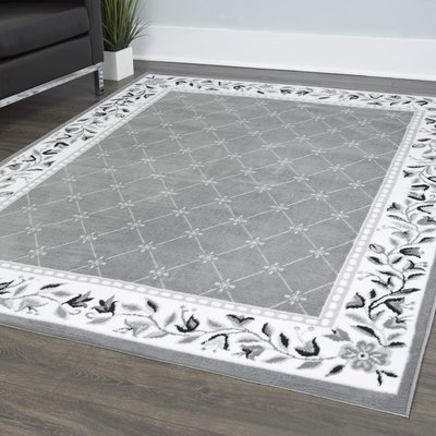 Charlton Home Modena Floral Gray Ivory Area Rug Area Rugs 8x10