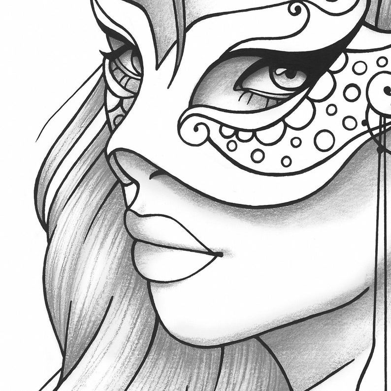 Printable Coloring Page Girl Portrait And Mask Colouring Sheet Etsy Girl Drawing Sketches Outline Drawings Drawings