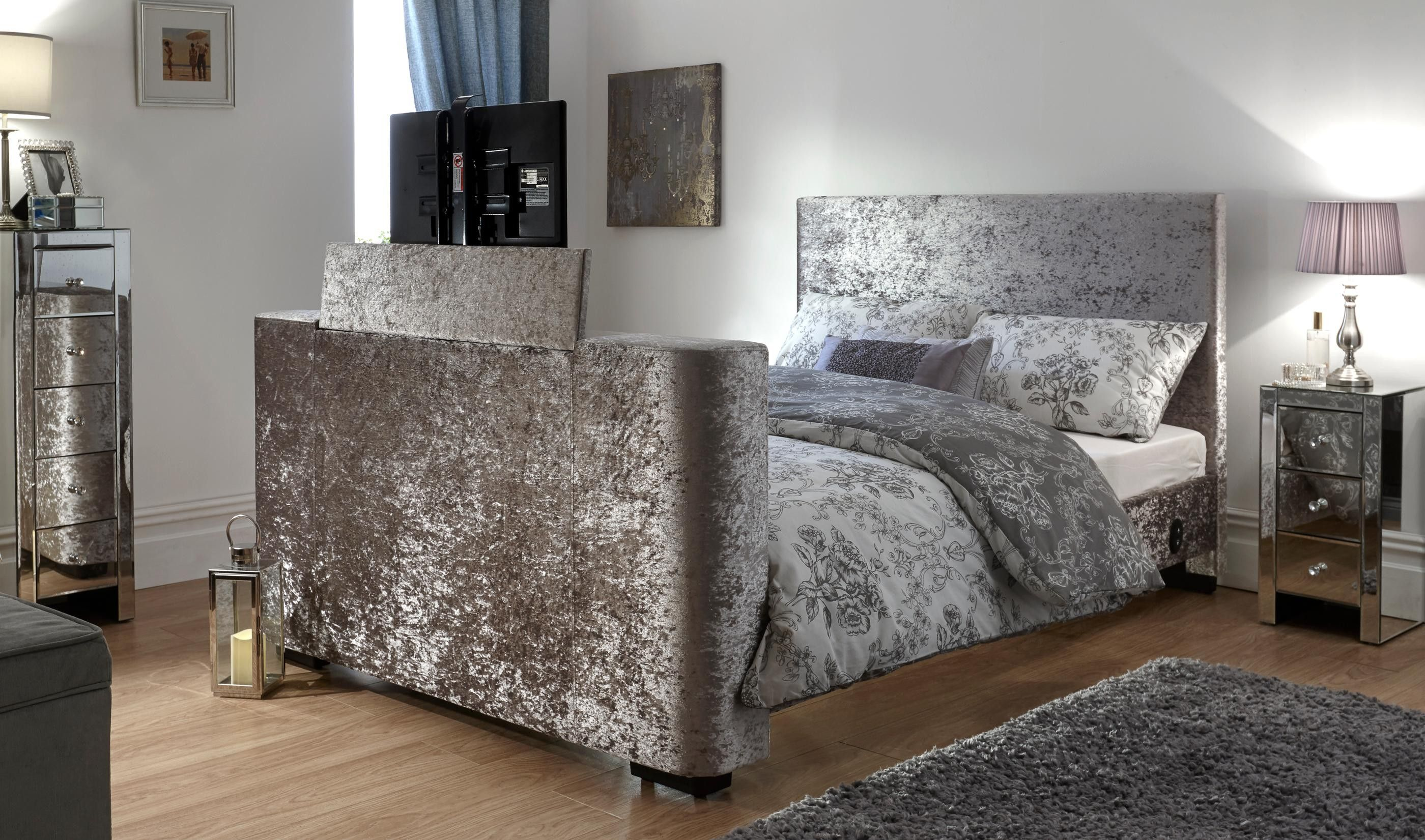 Newark Electric TV Bed Silver Crushed Velvet Lift