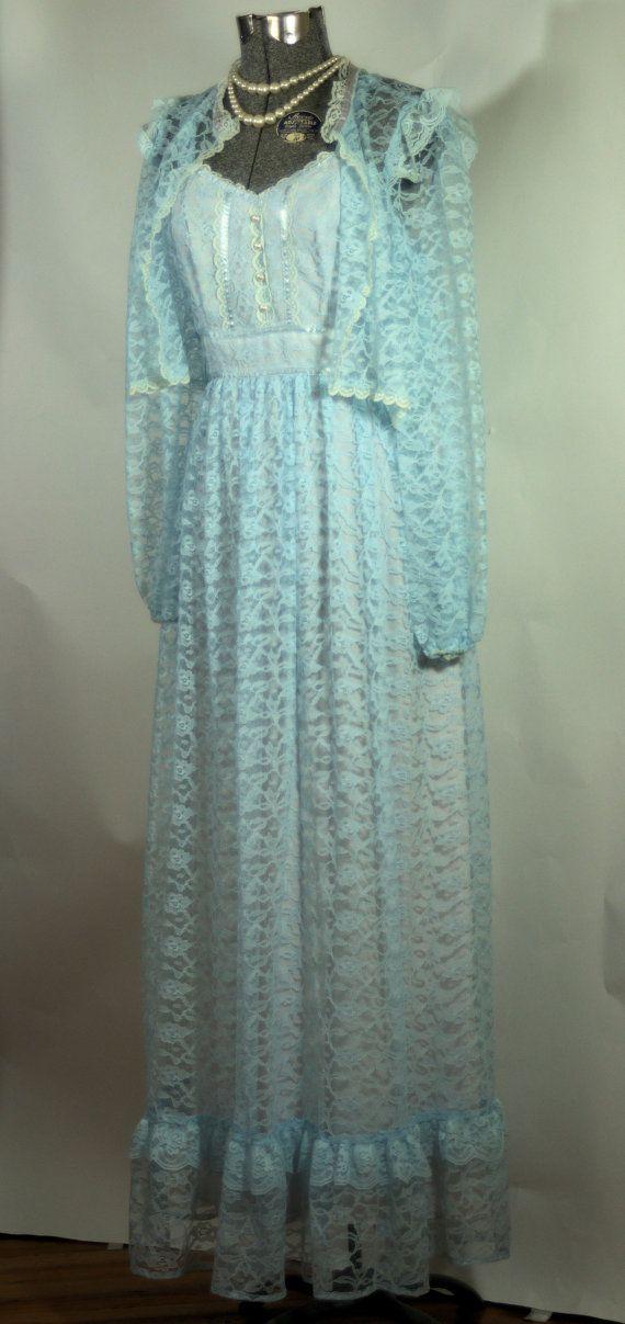 Vintage 1970s Prom Dress. Blue Lace Sun Dress with Bolero Size M ...
