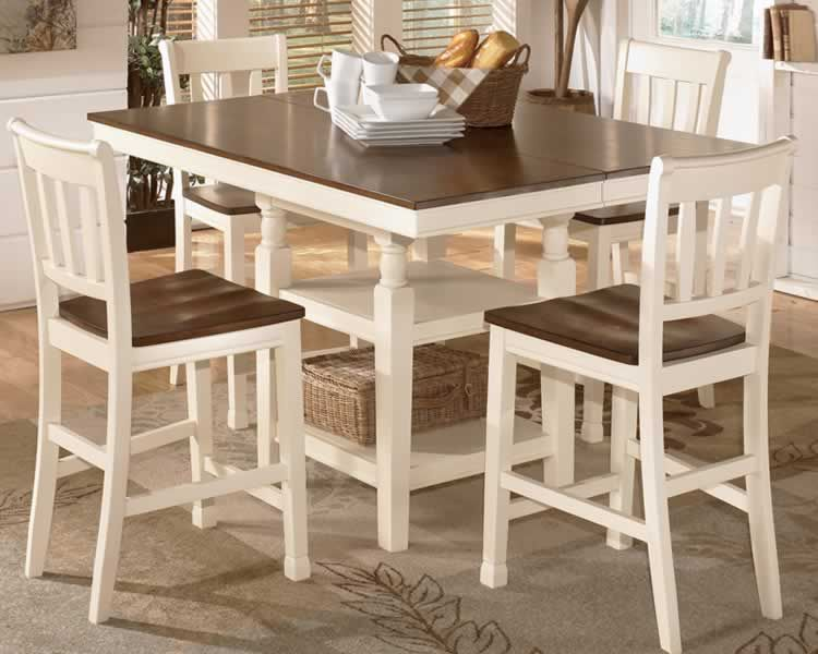 Perfect Cottage Style Counter Height Dining Set With Extension Table