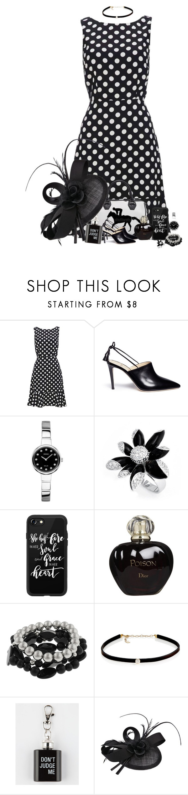 """""""Derby Ladies"""" by denisewood ❤ liked on Polyvore featuring Alexander White, Seiko, Bling Jewelry, Casetify, Christian Dior, Mixit and Carbon & Hyde"""