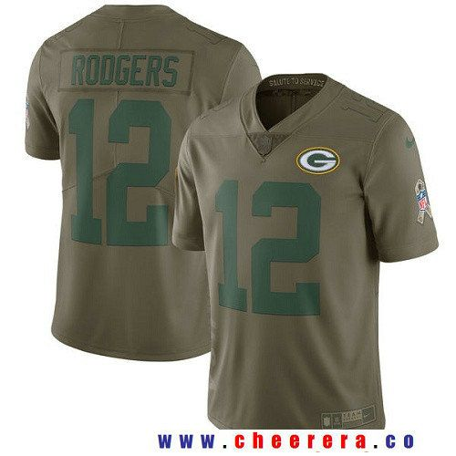 Women's Green Bay Packers #12 Aaron Rodgers Nike Olive Salute To Service Limited Jersey