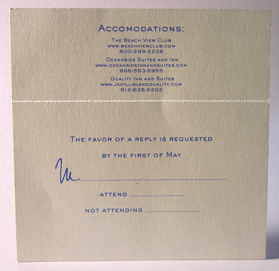 Thermography wedding RSVP postcard Attached to accommodations
