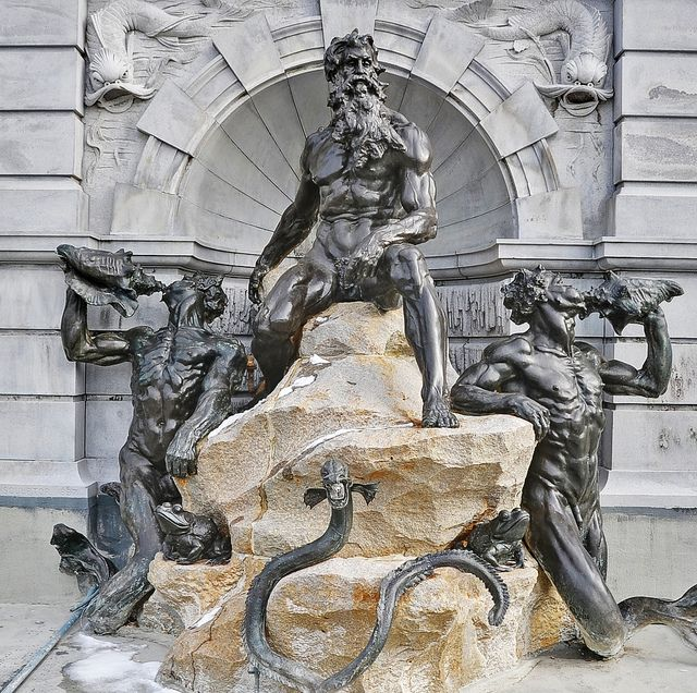 Neptune statue in front of Library of Congress, Washington ...