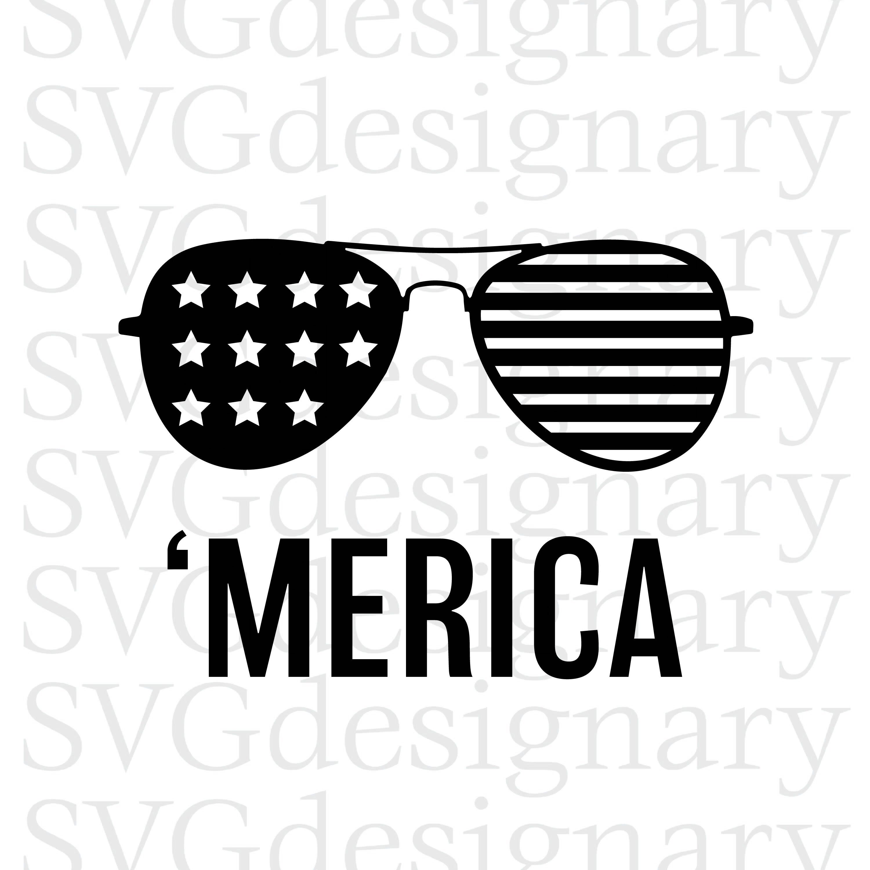 Merica Sunglasses Svg America 4th Of July Design