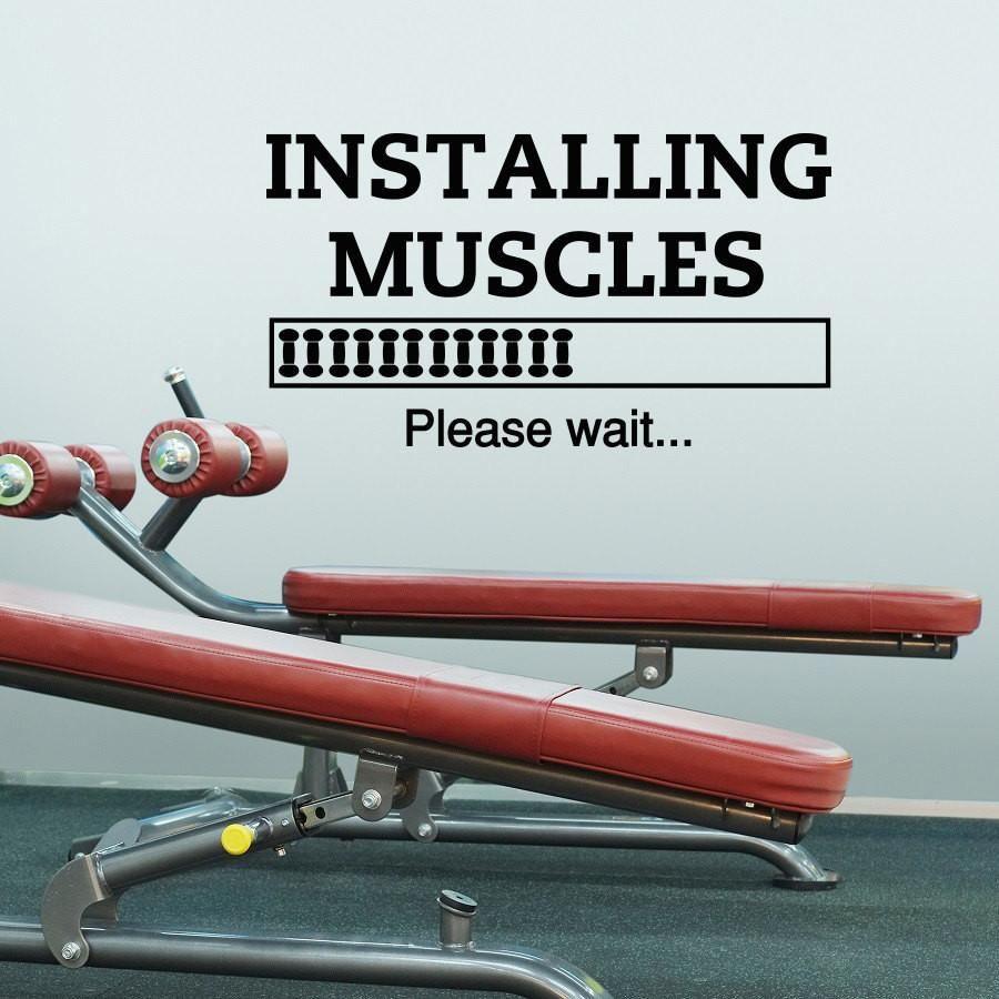 Installing muscles please wait wall decal diy wall sticker black