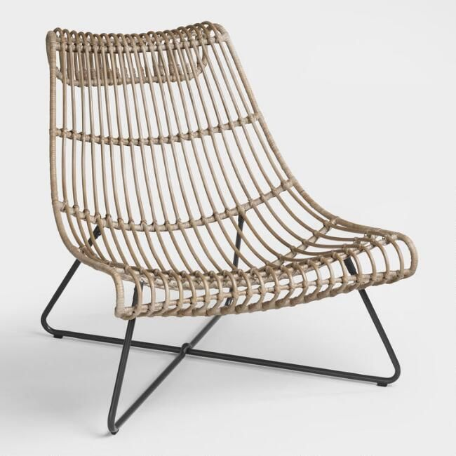 Cost Plus World Market Taupe Rattan Flynn Lounger Chair