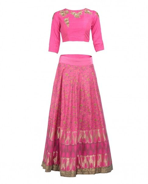 Fuchsia Lengha Set with Prints and Embroidery