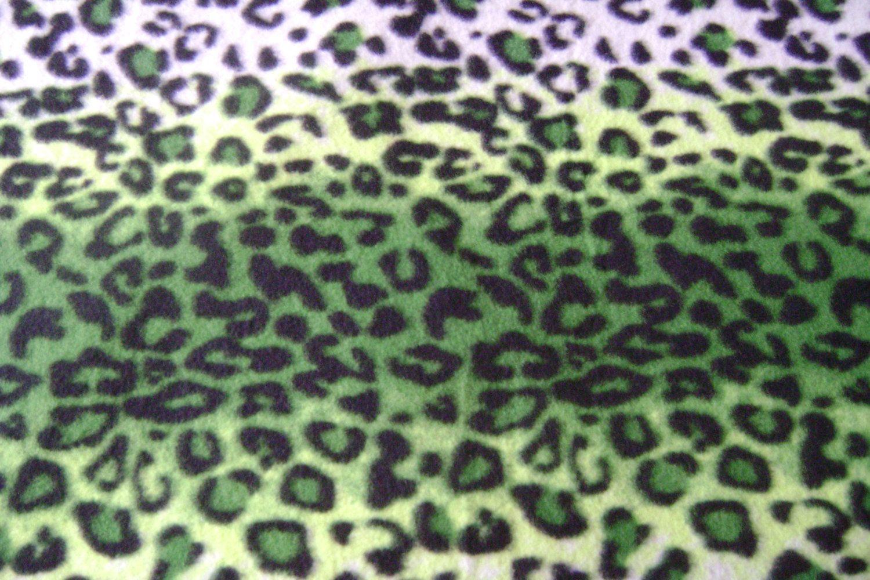 yards of green u white leopard print antipill fleece fabric