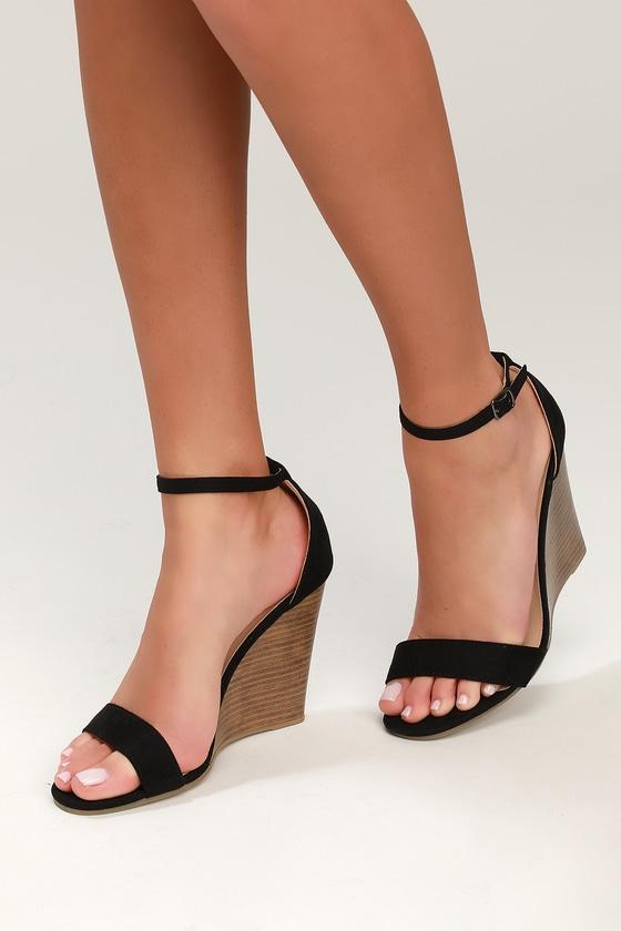 ff5cbdc6bc3 Lulus | Ramona Black Suede Wedge Sandal Heels | Size 9 | Vegan ...