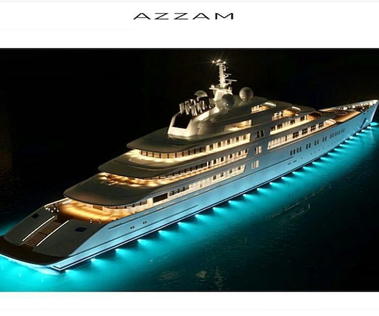 M/Y AZZAM At 180M she is the largest private mega yacht in the world. Built by Lurssen of the president of UAE.  Price tag: $3.75 million per meter  by @yachtchartersofmiami by n1yachts