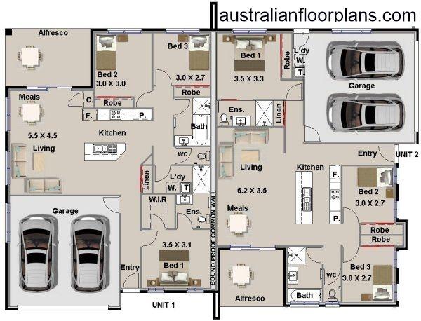 6 Bed Duplex Corner Design Plan 295DU 3 Bed x 3 Bed 4 Cars duplex plans Australia