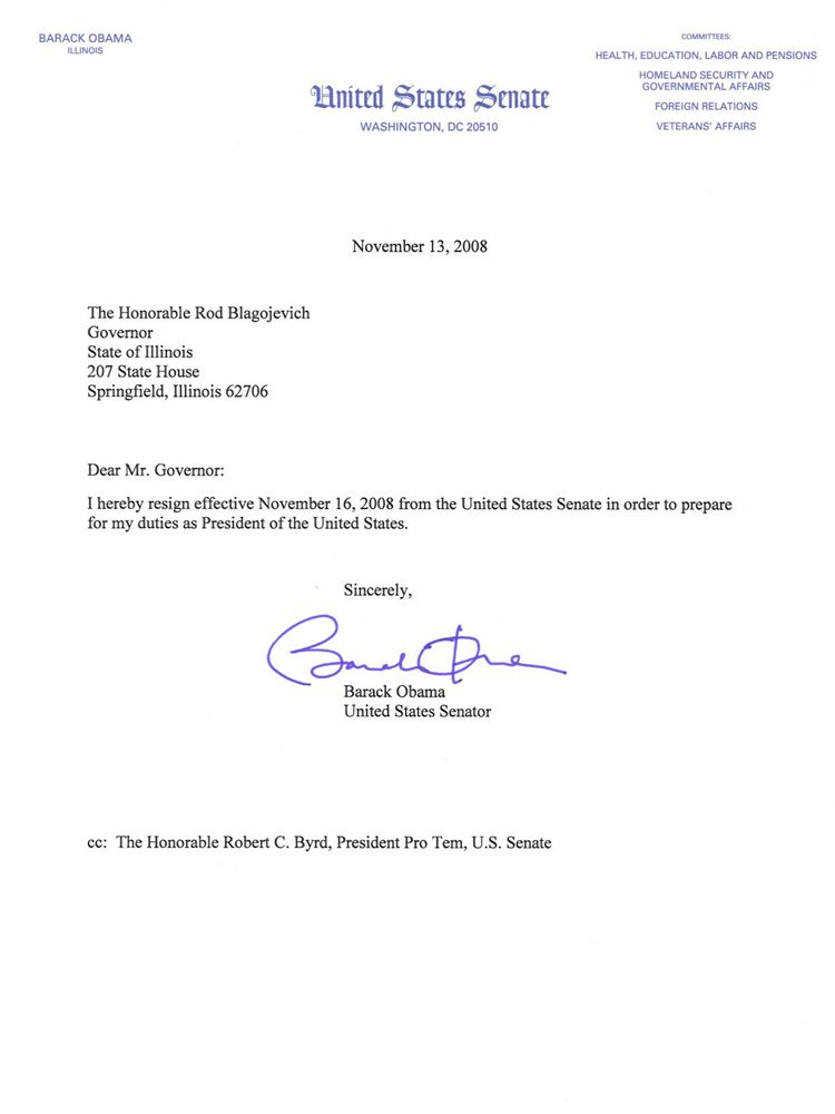 Then Senator Barack Obama\u0027s resignation from the US Senate in