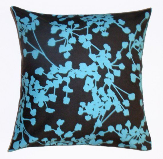 Throw Pillow Cover Floral Turquoise Blue Black Pillow Cover Custom Pillow Decor Coupon Code