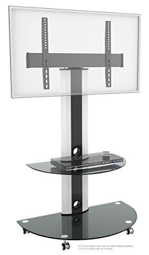 Ricoo Meuble Sur Pied Tv Roulettes Design Fs0502 Support En Verre Colonne Led Lcd Plasma Qe Oled 3d 4k Smart S