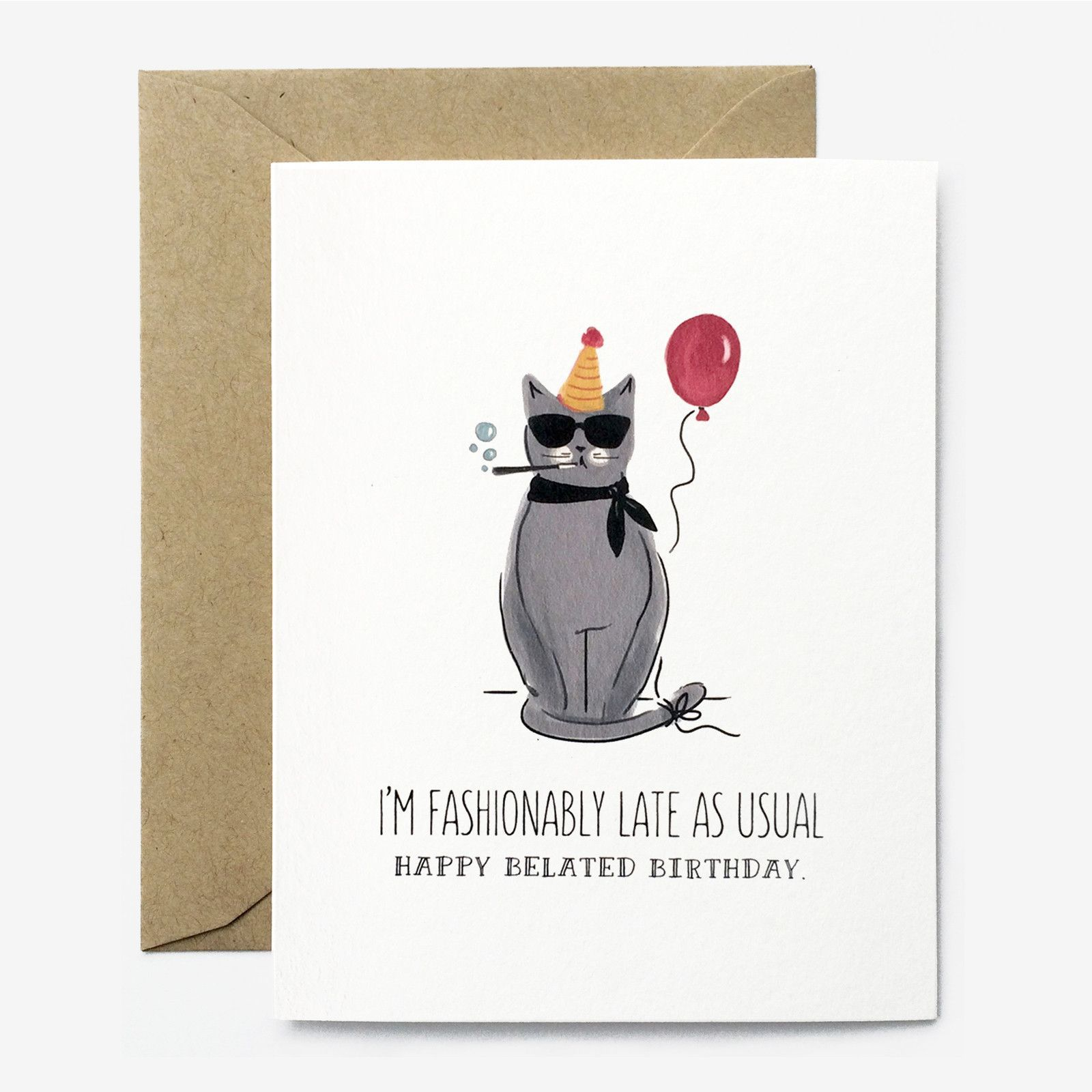 Fashionably Late Birthday Card Watercolor birthday cards