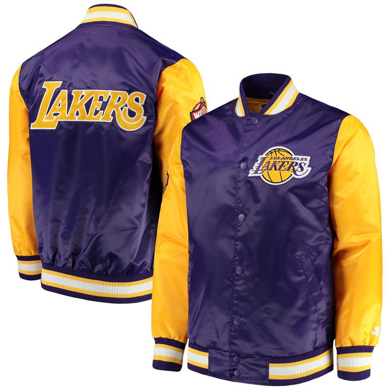 Los Angeles Lakers Starter Rookie Full Snap Jacket Purple Gold In 2020 Lakers Jacket Mens Outdoor Jackets Jackets