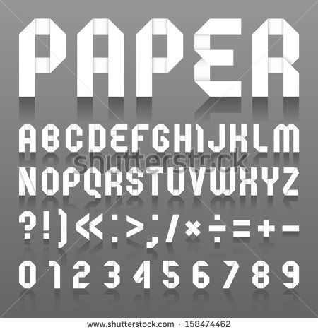 Alphabet Folded Of Paper Roman Alphabet A B C D E F G H I J K L M N O P Q R S T U V W X